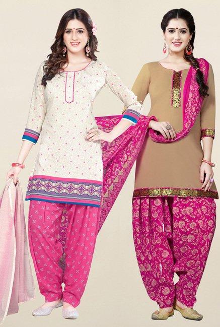 Salwar Studio Cream & Beige Unstitched Patiala Suit