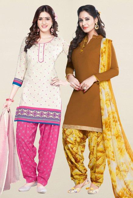 Salwar Studio Cream & Brown Unstitched Patiala Suit