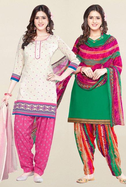 Salwar Studio Cream & Green Unstitched Patiala Suit