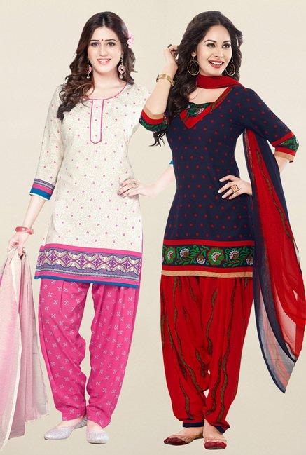 Salwar Studio Cream & Navy Synthetic Unstitched Patiala Suit