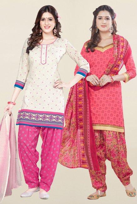 Salwar Studio Cream & Coral Unstitched Patiala Suit