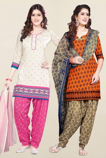Salwar Studio Cream & Orange Unstitched Patiala Suit