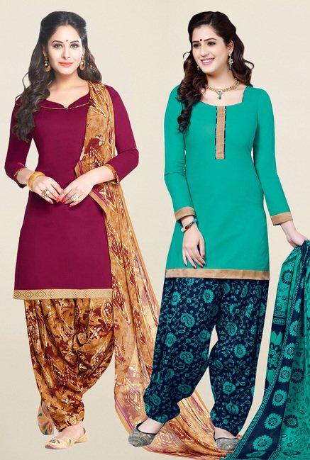 Salwar Studio Wine & Sea Green Unstitched Patiala Suit
