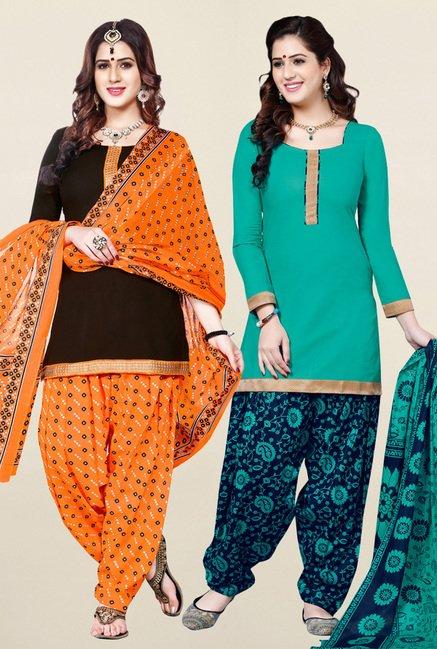 Salwar Studio Brown & Sea Green Unstitched Patiala Suit
