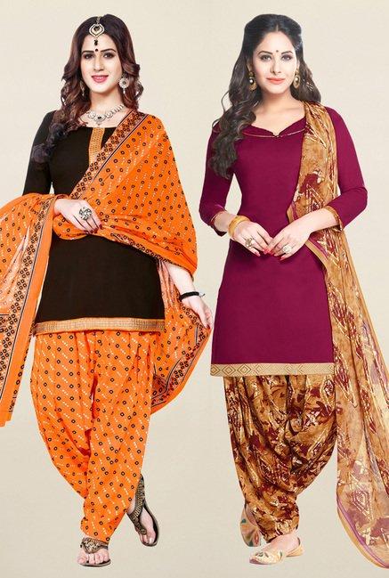 Salwar Studio Brown & Wine Synthetic Unstitched Patiala Suit
