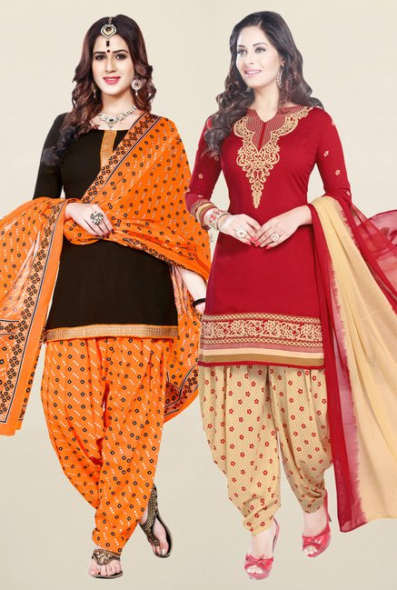 Salwar Studio Brown & Red Synthetic Unstitched Patiala Suit