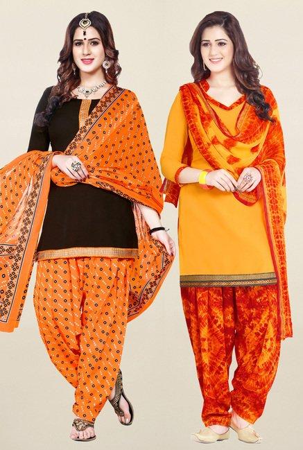 Salwar Studio Brown & Yellow Unstitched Patiala Suit