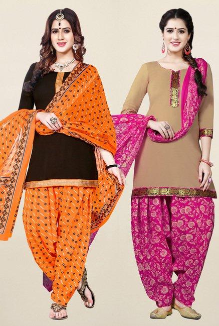 Salwar Studio Brown & Beige Unstitched Patiala Suit