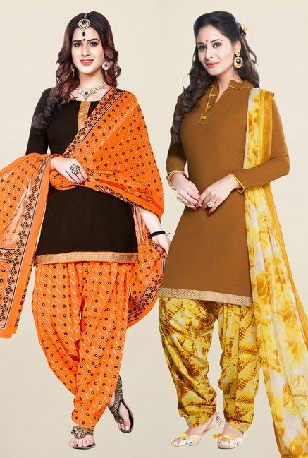 Salwar Studio Brown Unstitched Patiala Suit