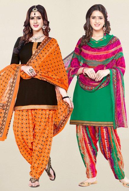 Salwar Studio Brown & Green Unstitched Patiala Suit
