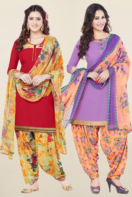 Salwar Studio Red & Purple Synthetic Unstitched Patiala Suit