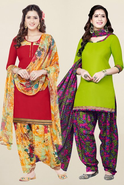 Salwar Studio Red & Green Synthetic Unstitched Patiala Suit