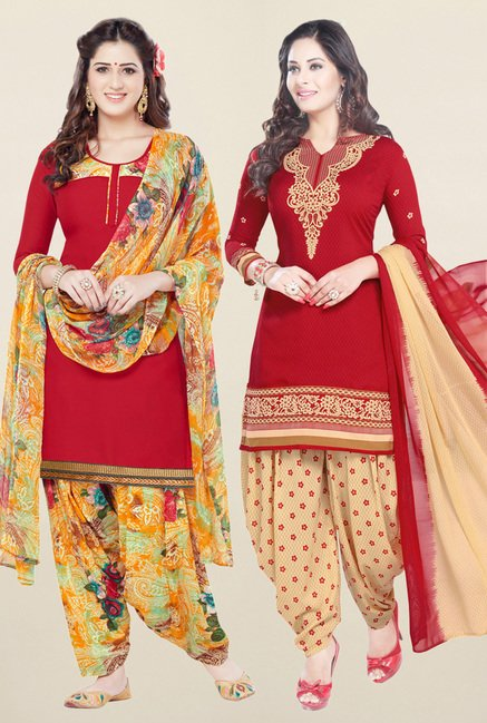 Salwar Studio Red Synthetic Unstitched Patiala Suit