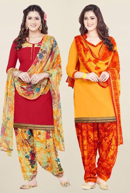 Salwar Studio Red & Yellow Synthetic Unstitched Patiala Suit