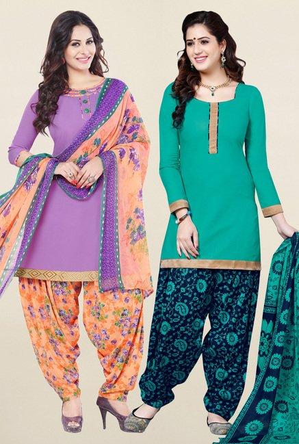 Salwar Studio Purple & Sea Green Unstitched Patiala Suit