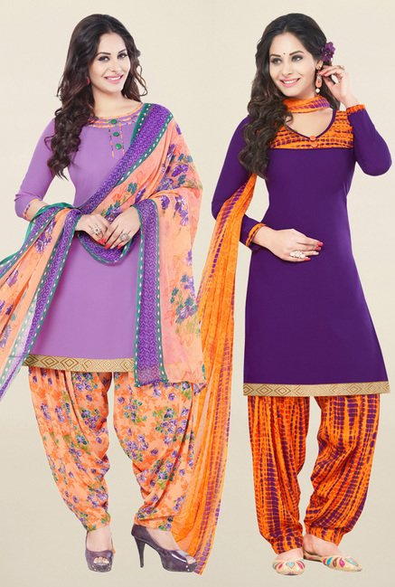 Salwar Studio Purple Synthetic Unstitched Patiala Suit