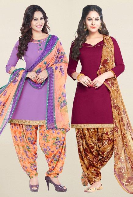 Salwar Studio Purple & Wine Unstitched Patiala Suit