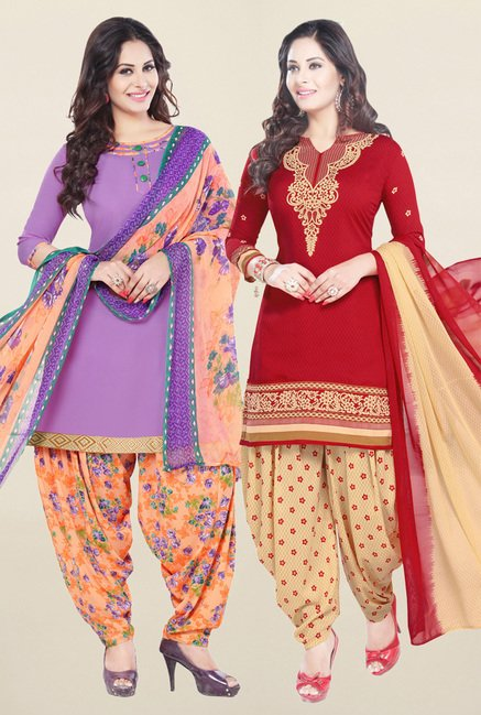 Salwar Studio Purple & Red Synthetic Unstitched Patiala Suit