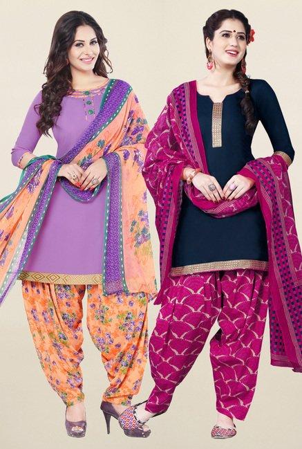 Salwar Studio Purple & Navy Unstitched Patiala Suit