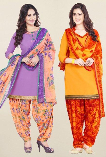 Salwar Studio Purple & Yellow Unstitched Patiala Suit