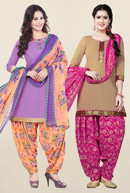 Salwar Studio Purple & Beige Unstitched Patiala Suit