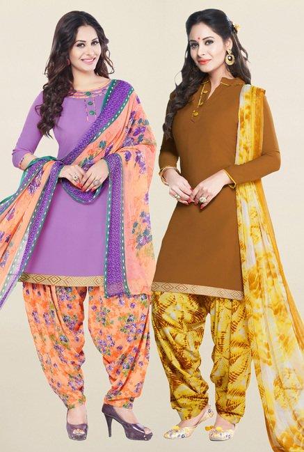 Salwar Studio Purple & Brown Unstitched Patiala Suit
