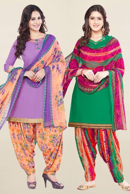 Salwar Studio Purple & Green Unstitched Patiala Suit