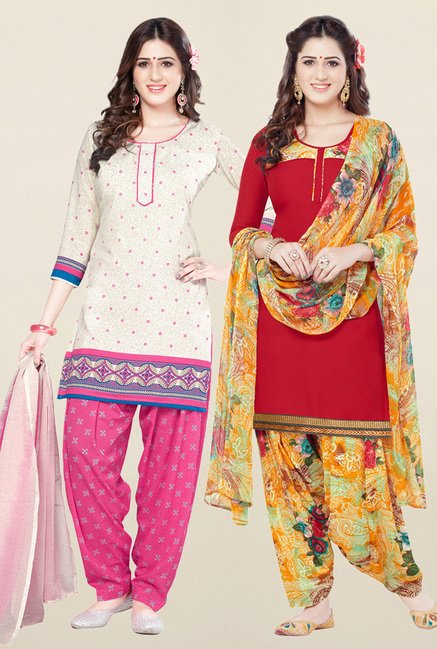 Salwar Studio Cream & Red Synthetic Unstitched Patiala Suit