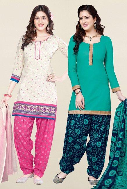 Salwar Studio Cream & Sea Green Unstitched Patiala Suit