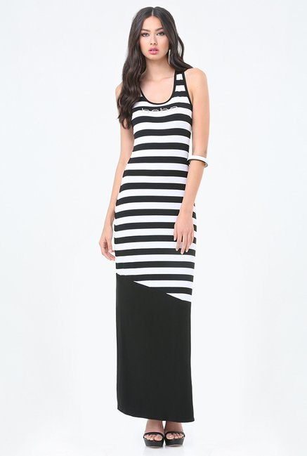 Buy Bebe Black White Striped Dress For Women Online Tata Cliq