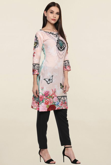 Ahalyaa Light Pink Printed Kurti