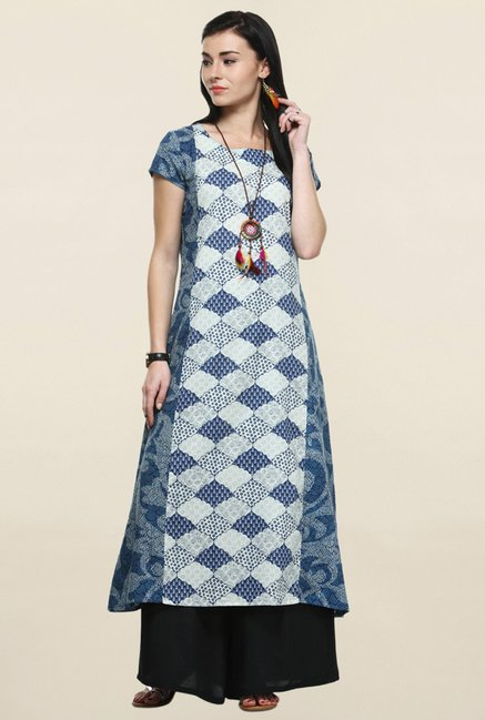Varanga Blue & Black Printed Kurta With Palazzo