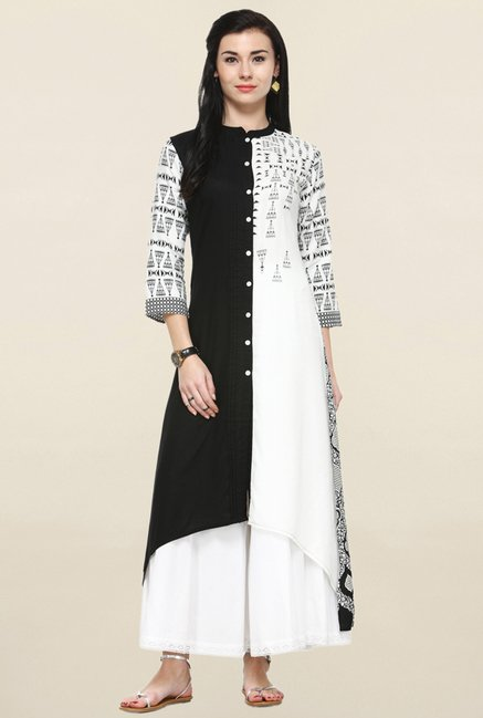 Varanga Black & White Printed Kurta With Palazzo