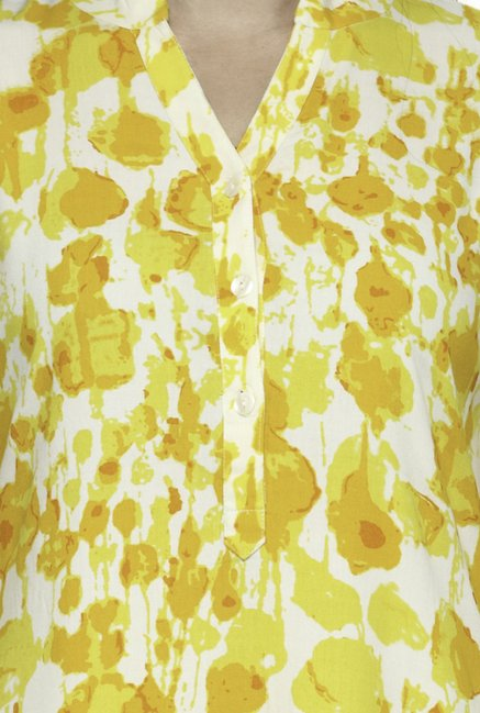 Varanga Yellow & White Printed Kurta With Palazzo