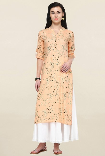 Varanga Peach & White Printed Kurta With Palazzo