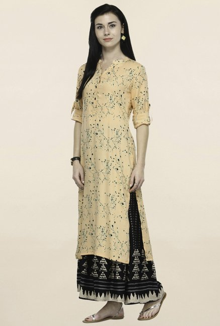 Varanga Peach & Black Printed Kurta With Palazzo