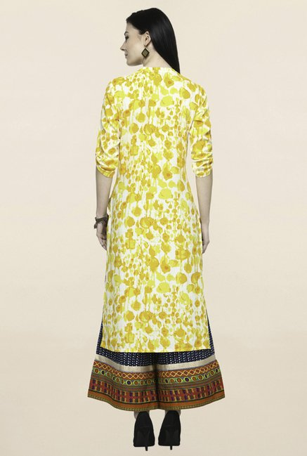 Varanga Yellow & Navy Printed Kurta With Palazzo