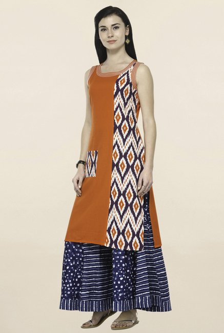 Varanga Orange & Navy Printed Kurta With Palazzo