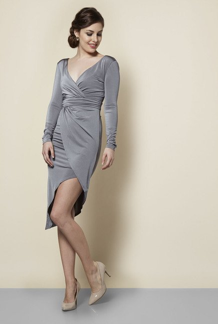 Lipsy Grey Full Sleeves Dress