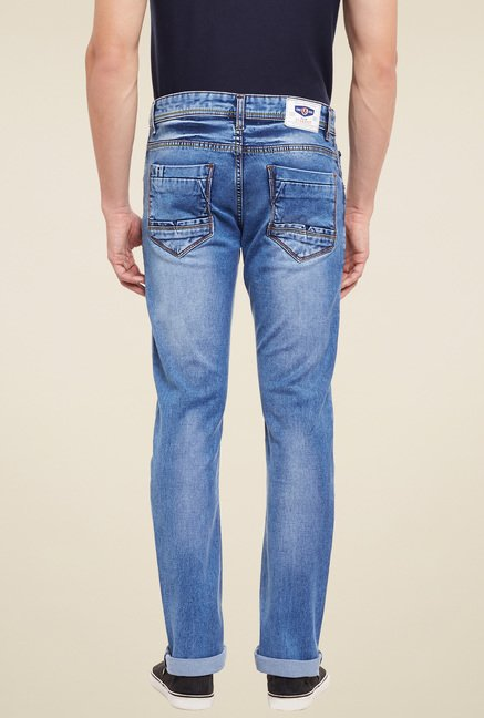 Duke Blue Lightly Washed Mid Rise Jeans
