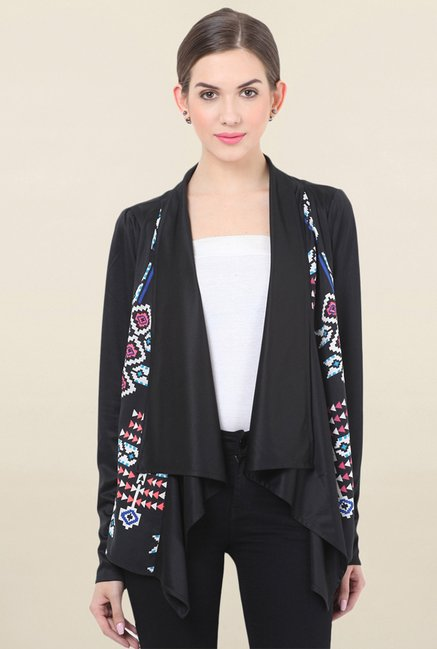 Honey & B Black Printed Shrug