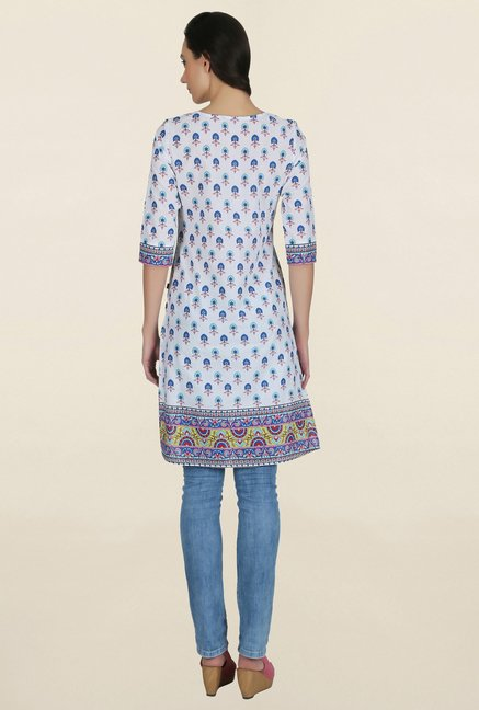 Juniper White & Blue Printed Kurti