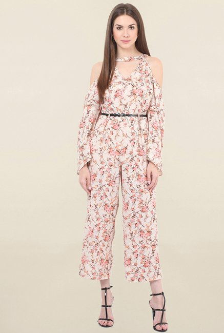 Honey & B Beige Floral Print Jumpsuit