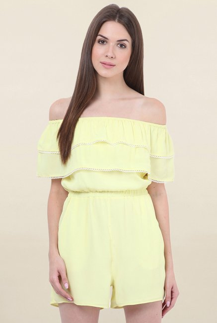 Honey & B Yellow Solid Playsuit