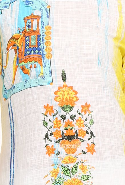 Aurelia Off White & Yellow Floral Print Kurta