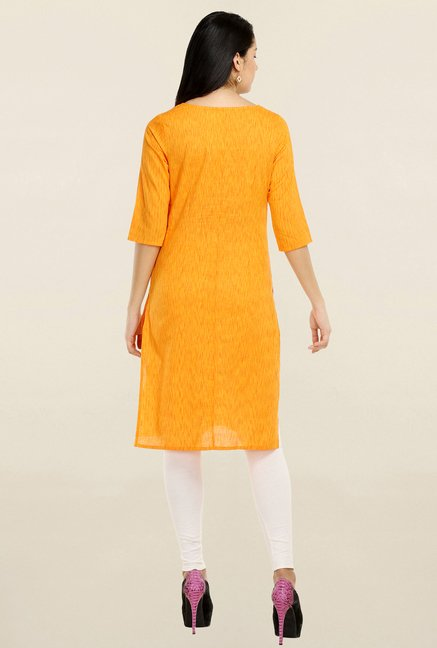 Aurelia Orange & Yellow Printed Kurta