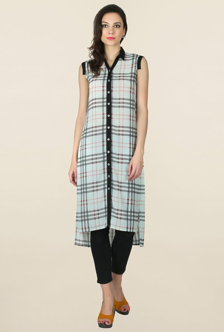 Juniper Mint Checks Shirt Kurta