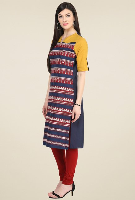 Pannkh Navy Printed Cotton Kurti