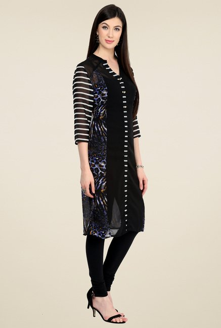 Pannkh Black Printed Regular Fit V-Neck Kurti