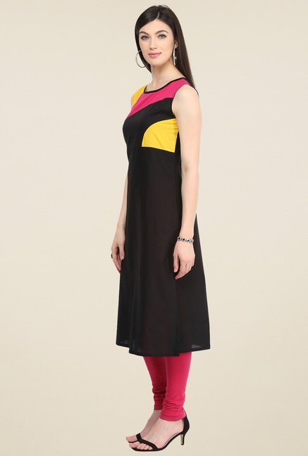 Pannkh Black Cotton Sleeveless Kurti